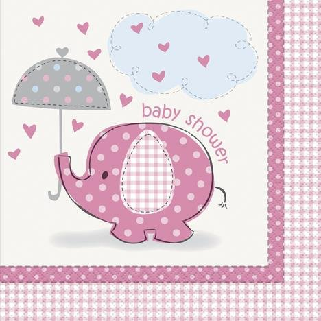 Baby Shower rosa Elefant Lunch-Servietten