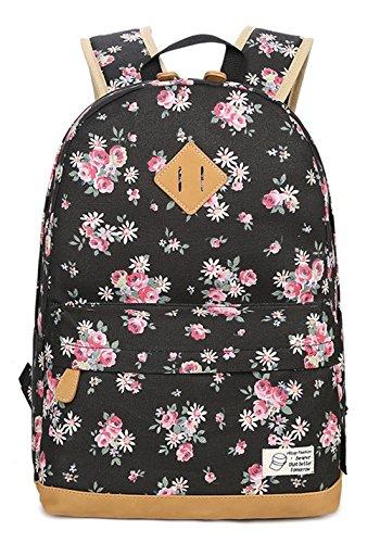 Greeniris Damen Segeltuch Rucksäcke Leicht Schultaschen Blumen Rucksack zum Mädchen/Kinder Schwarz (Blumen-mädchen-rucksack)