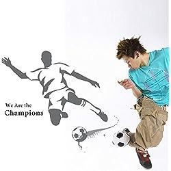 Pegatina Pared Vinilo Decorativo Adhesivo Deporte Fútbol Futbolista Gris Letras de Inglés Campeón