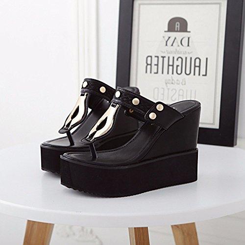 GTVERNH-l'estate 8.5cm scarpe nere l'aumento in infradito con una suola spessa col tacco le pantofole scarpe casual liu dingpo documentario,trentaquattro Thirty-nine