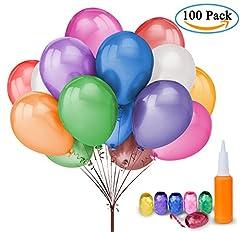 Idea Regalo - 100 Palloncini Colorati Compleanno – Meersee Lattice Palloncini e Pompa e Ribbon, Palloncini Colorati Misti per Feste, Matrimoni, Decorazione (il giro)