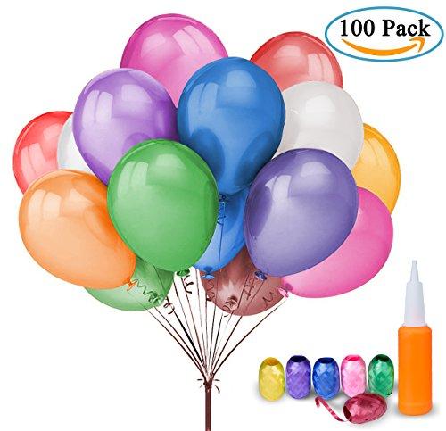100 palloncini colorati compleanno - meersee lattice palloncini e pompa e ribbon, palloncini colorati misti per feste, matrimoni, decorazione (il giro)