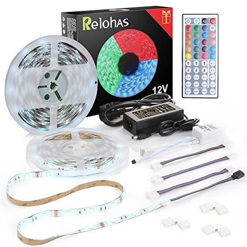 LED Licht Streifen, 10 Meter Beleuchtung RGB LED Stripes mit 300 LEDs (SMD 5050), IP65 Wasserfestes LED Band Farbwechsel Dimmbar Lichterkette für Weihnachten Feiertage Heim Küche Dekoration, inkl. 12V