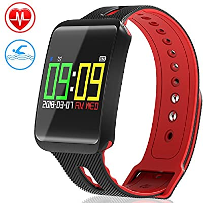 Fitness Tracker, LEEQin Waterproof Fitness Tracker, Activity Bluetooth Tracker Bracelet Watch with Heart Rate Monitor, Sleep Monitoring, Pedometer, Blood Pressure and Oxygen Function with Colorful Screen for Apple IOS Android Smartphone by LEEQin
