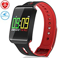 Fitness Tracker, LEEQin Waterproof Fitness Tracker, Activity Bluetooth Tracker Bracelet Watch with Heart Rate Monitor, Sleep Monitoring, Pedometer, Blood Pressure and Oxygen Function with Colorful Screen for Apple IOS Android Smartphone
