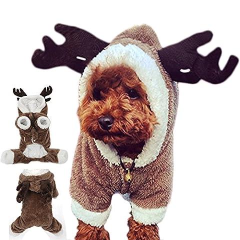 GossipBoy Cute Rentier Hirsch Elk Design Hund Weihnachten Kleidung Trikots Pet Kleidung Puppy Jumpsuit, Coat Apparel Hoodie für Teddy, Yorkshire Terrier, Chihuahua, Zwergspitz, (Kleiner Hund Kostüme)