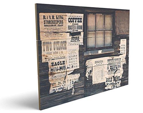 Wild West Style, qualitatives MDF-Holzbild im Drei-Brett-Design mit hochwertigem und ökologischem UV-Druck Format: 100x70cm, hervorragend als Wanddekoration für Ihr Büro oder Zimmer, ein Hingucker, kein Leinwand-Bild oder Gemälde (70's Workout Kostüm)