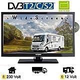 Telefunken L22F272K4DV LED Fernseher 22 Zoll 55 cm TV mit DVD DVB-S/S2, DVB-T2, DVB-C, USB, Energieeffizienzklasse A + , 230V / 12 Volt