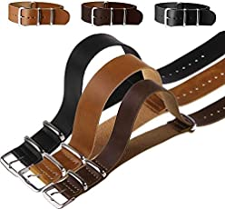 Rocomoco PU Leather Wrist Watch Band Strap Mens Stainless Steel Pin Buckle