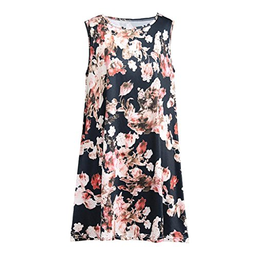 Toamen Gilet Femmes T-shirt imprimé floral Gilet O Neck Sans manches Chemisier Hauts décontractés Retro
