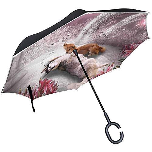 Umkehrregenschirm Trendy Valentine Dog Inverted Umbrella Reversible für Golf Car Travel Regen Outdoor Schwarz