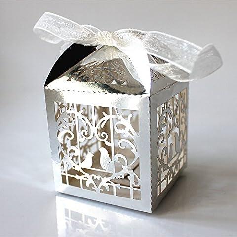 Generic 50pcs Boîte à Dragées Bonbonnière Boîte Cadeaux pour Mariage Motif Ajouré - Argenté