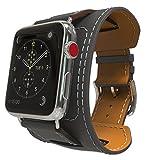MoKo Armband für Apple Watch Series 3/2 / 1 38mm, Cuff Lederarmband Wrist Band Uhrband Uhrenarmband Erstatzband Uhr Band mit Schnalle und Mentallschließe, Quarz Grau