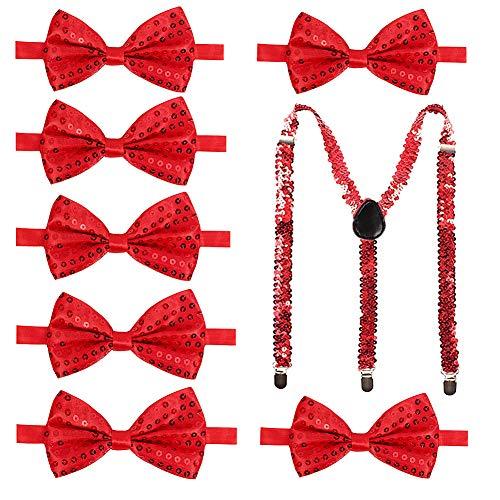 Rot Kostüm Glitzer - SEGMART 7 Pack Pailletten Fliege Schleife mit Hosenträger Pailletten Glitzer Träger, Perfekt für Herren Damen Kinder Fancy Kostüm Party Zubehör (Rot Set)
