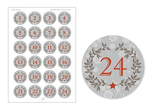 """'24Calendrier de l'Avent chiffres dans gris avec couronne de Noël et chiffres 1–24au look """"Rétro Vintage Pour Calendrier de l'Avent à remplir soi-même bricolage/Sacs Papier & # x2022, 4cm, rond, mat"""