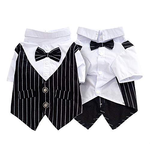 Gestreifter Kostüm Bügel - Pet Apparel Dog Hochzeitsanzüge Partykleidung Dog Prince Black Bow Tie Gentry Stripe Smoking Kostüme für kleine, mittelgroße Hunde,L