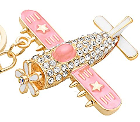 SaySure - Fighter Plane Aircraft Key Chains Rings Holder Flower