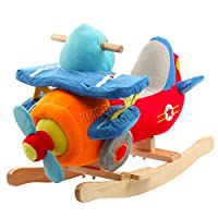 FoxHunter Baby Rocking Aeroplane | Plush Wooden Rocking Horse Toy | Rocking Chair for Toddler Baby 1-3 Years, Child Rocker Pink Rocker | Toddler Rocker Horse | Baby Rocker Toy