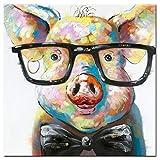 Wall art murale,Pittura Decorativa Pittura A Olio Della Tela dipinto su tela di un simpatico maialino con occhiali, in stile pop art, realizzato a mano,pronto per essere appeso alla parete, Colorful