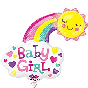 Amscan International 3405401 - Globo de Papel de Aluminio con Texto Baby Girl Bright Happy Sun Super Shape (30 Pulgadas)