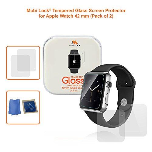 Protector de pantalla Mobi Lock Premium de Vidrio Templado de 42mm y Anti-huellas/arañazos para Reloj Apple versión 1 / 2 / 3