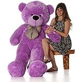 [Sponsored]BTC Soft Teddy Bear Birthday Gift For Girlfriend/Wife Happy Birthday Teddy With Heart Soft Toy 3 Feet Long Purple