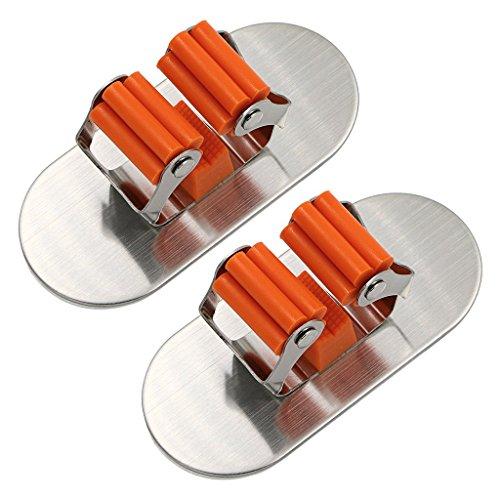 Besenhalter,Lifesport 2 Stück Besen Halter Gerätehalter Wandhalter aus Edelstahl Bad Küche Organizer Rack mit 3M Selbstklebend (Runden)