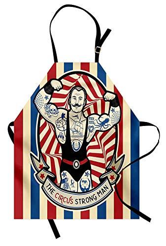 Soefipok Circus Schürze, Ikone Der Starke Mann mit Tätowierungen und Muskeln Circus Star Fun Kunstdruck, Unisex-Küchenschürze mit verstellbarem Hals zum Kochen Backen Gartenarbeit, Beige Rot Blau
