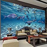GMYANBZ 3D Wallpaper Cartoon Kreative Submarine World Marine Life Wandbild Kinder Schlafzimmer Aquarium Wohnzimmer Hintergrund Tapeten Wohnkultur