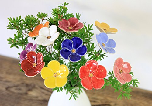 Blumen, Keramik, Blumenstrauß, 11er Set Blumen-keramik