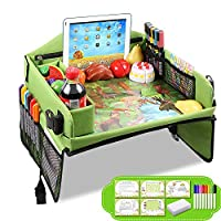 Drivaid Kids Travel Play Tray, Baby Car Seat Tray To Drawing, Organize Snacks, Snack Play Tray With 16 Organizer Pockets (Bonus 5 Drawing Card, 8 Pens, 1 Eraser) For Cars, Plane, Outdoor Activities