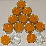 AMA-Feinkost 12 Bienenwachs Teelichter für eine angenehme Atmosphäre mit 12 Glasschälchen handgefertigt