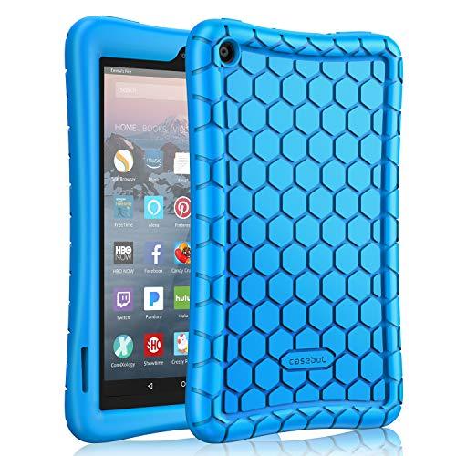 Fintie Silikon Hülle kompatibel mit Fire 7 Tablet (7-Zoll, 2019) - Leichte rutschfeste Stoßfeste Silikon Tasche Case Kinderfreundliche Schutzhülle, Blau