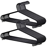 FARIL 20x Adult Coat Hangers Black Colour Strong Plastic Clothes with Suit Trouser Bar and Lips (36cm Wide), s