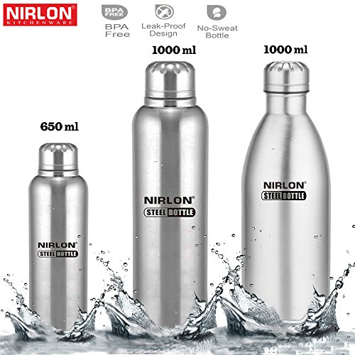 Nirlon Single Wall Insualted Stainless Steel Gym Water Bottle Combo Set