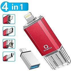 Memoria Flash 4 en 1 de 32 GB Compatible con iPhone y Dispositivos Android Memory Stick Expansión para iPhone Android teléfono Tablet PC y Dispositivos con USB/Micro USB/Type C/iOS L-Port-Red