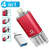 Qarfee Memoria USB 32GB 4 in 1 Chiavetta USB Flash Drive per iPhone iPad e PC Laptop, USB 3.0 Pen Drive per Dispositivi con Apple/iOS/Android/USB/Micro USB/Tipo C Porta (Rosso)