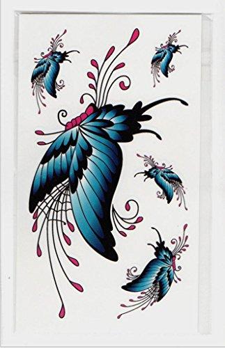 eber Männer und Frauen Umweltschutz wasserdichte 3D bunte Federn Tattoo Aufkleber temporäre Tattoos (20 Blatt Pack) , 10.5*6cm ()