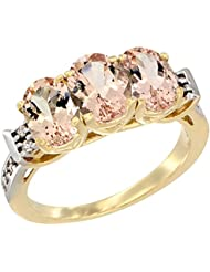 14ct oro amarillo colgantes anillo 3-piedra Natural Oval diamante acento 7 x 5 mm, Tamaños J - T