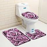 NINGSANJINˇ 3 Stück Bad WC Set Sitzbezug (Bad Teppich + Pedestal Teppich + Toilettensitzabdeckung), Eine Vielzahl von Mustern Optional(Stil 4) (B)