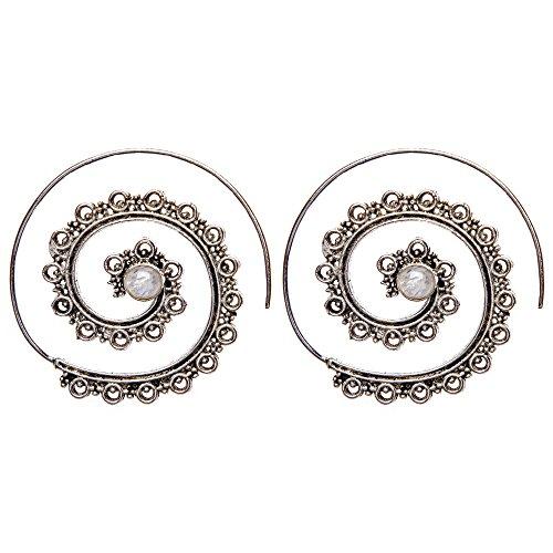 81stgeneration orecchini in ottone color argento pietra lunare simulata spirali etnici dotwork
