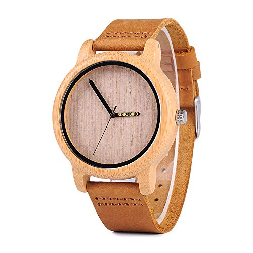 Groove-holz (Kim Johanson Damen Bambus-Holz Armbanduhr *Groove* in Braun mit Echtem Lederarmband Handgefertigt Quarz Analog Uhr inkl. Geschenkbox)