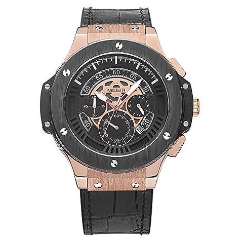 Fashion Sport Chronograph Calendar Waterproof Leather Strap Quartz Men Wrist