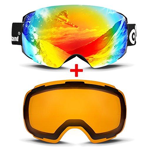 Odoland Occhiali da sci con magnetico staccabile di disegno dell'obiettivo - per adulti uomo e donna - Specchio Coating UV400 Protection e Anti-Fog Lens doppia lente sferica confortevole