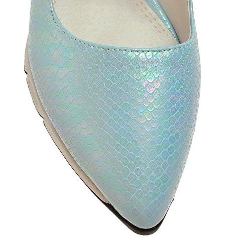 AgooLar Femme Pu Cuir à Talon Correct Pointu Couleur Unie Tire Chaussures Légeres Bleu