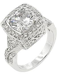 Eleganter Verlobungsring Ring mit Zirkonia Diamanten, 14 Karat Weißgold Vermeil