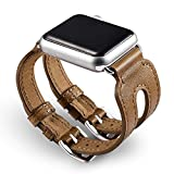 ICARER Classic Double Buckle Cuff Genuine Leather Watch Band Bracelet für Apple Watch 38mm Series 1 Series 2 - Brown
