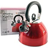 Prima 2.5L Red Lightweight Stainless Steel Whistling Kettle Camping Fishing Cordless