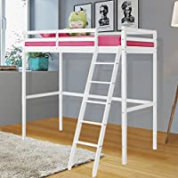 WarmieHomy Cabin Bed Loft High Sleeper Solid Pine Single Bed Wood Frame Bunk Bed with Ladder White 3ft