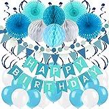 Zerodeco Geburtstag Dekoration, Happy Birthday Banner Wabenbälle und Fächerdekoration Papier Girlande Fächer Dreieckige Wimpel Spiral Girlanden und Luftballon - Blau, Hellblau und Weiß